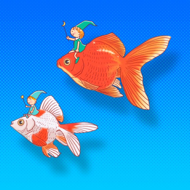 金魚に乗った精霊のイラスト(背景あり)