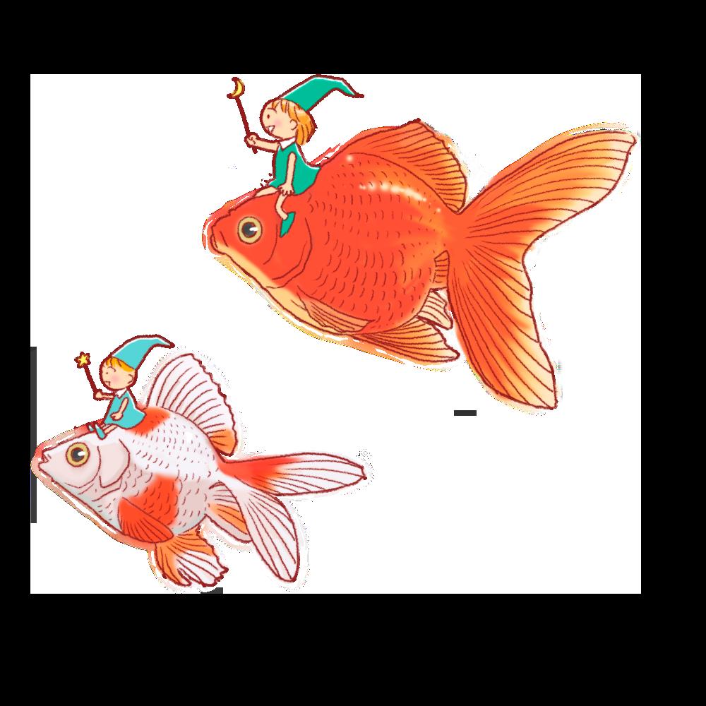 金魚に乗った精霊のイラスト