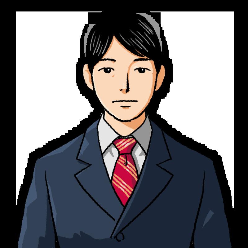 真顔のスーツの男性のイラスト