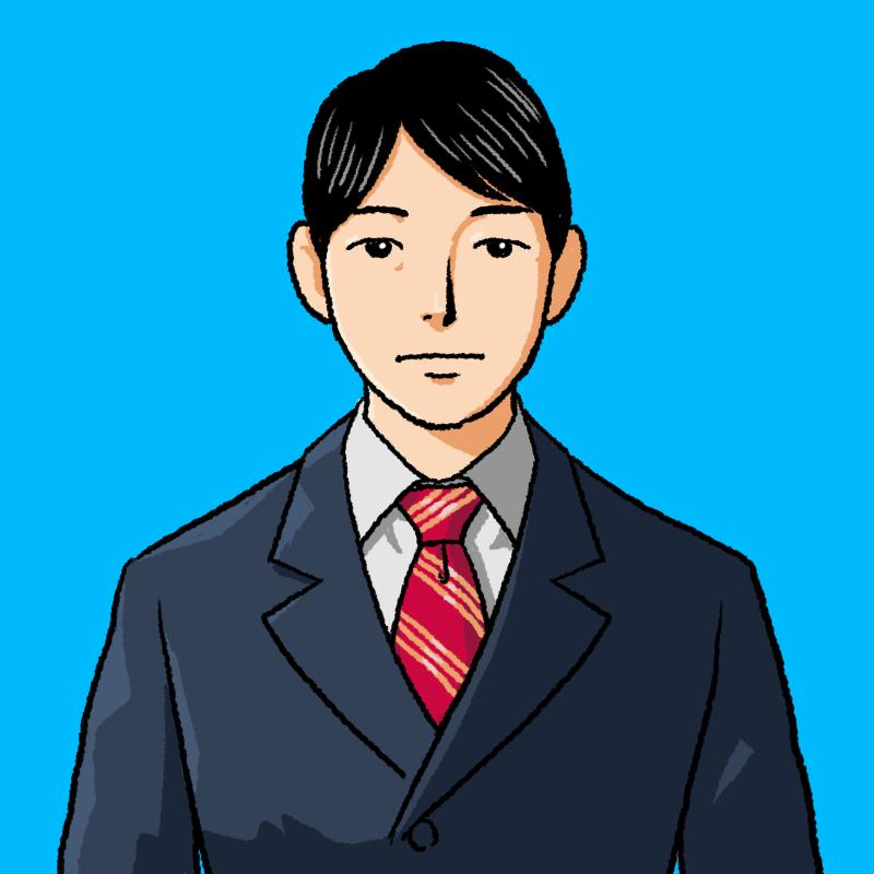 真顔のスーツの男性のイラスト(証明写真風)