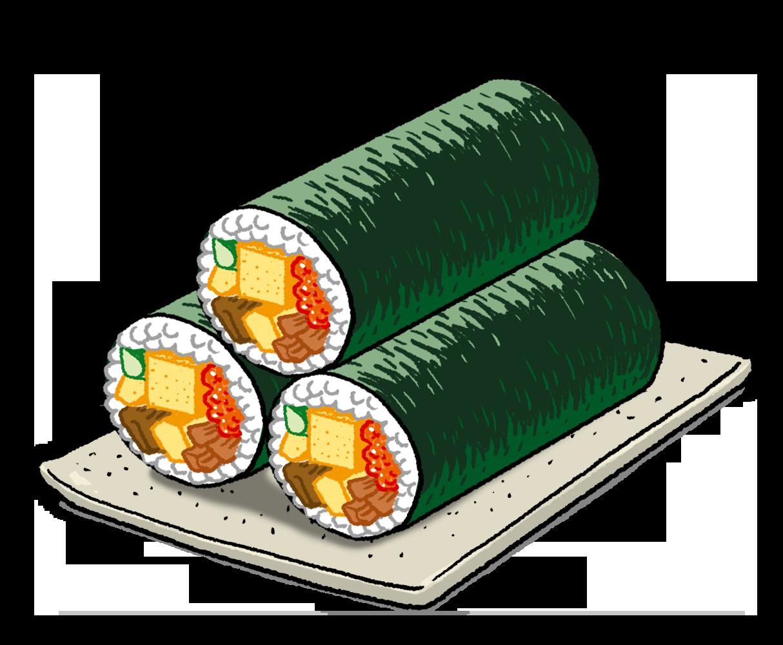 巻き寿司(恵方巻)のイラスト
