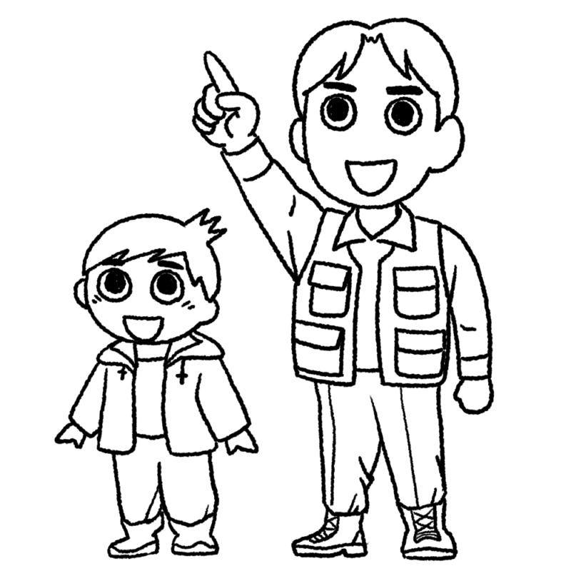 見上げる親子のイラスト(ぬり絵)
