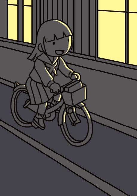 【危険運転】自転車を無灯火で運転する女子生徒のイラスト