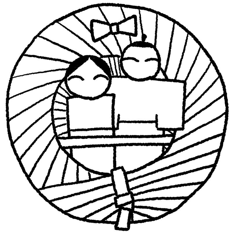 流しびなのイラスト(ぬり絵)