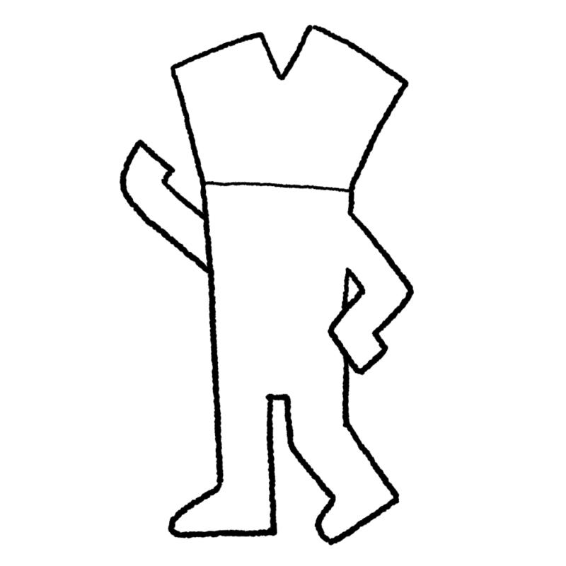ネギ人間のイラスト(ぬり絵)
