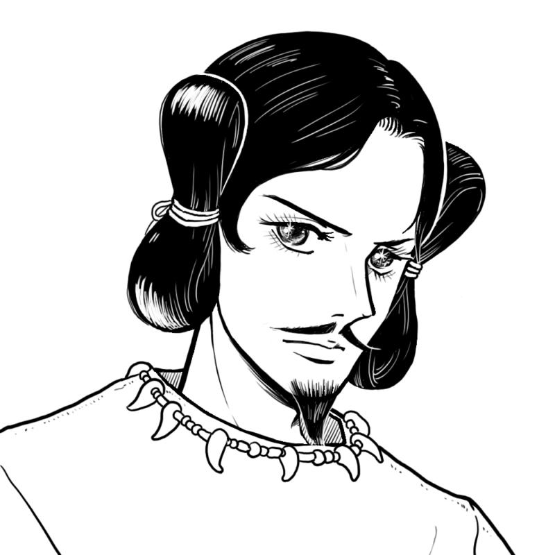 レトロな少女漫画風の神様のイラスト(ぬり絵)