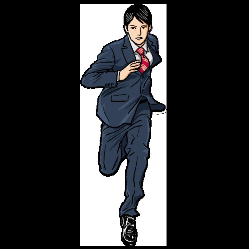 走るスーツの男性のイラスト