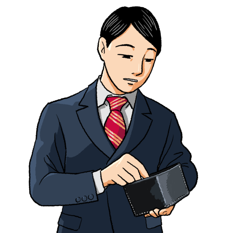 財布を見るスーツの男性のイラスト