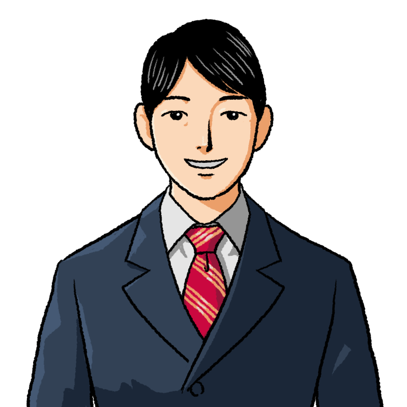 爽やかに笑うスーツの男性のイラスト