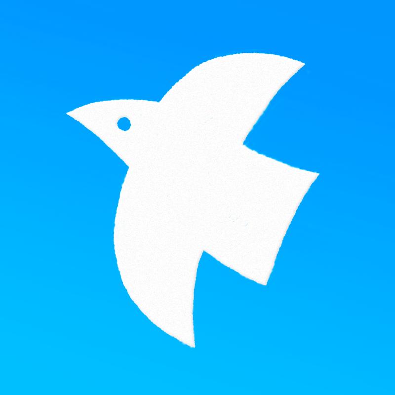 はbたく白い鳥のイラスト(背景ブルー)