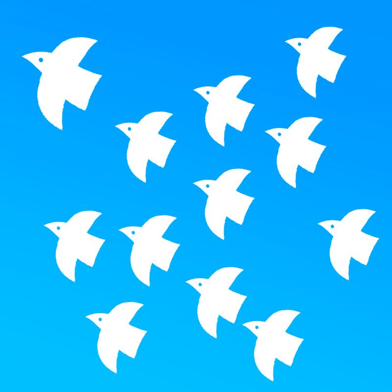 羽ばたく白い鳥の群れのイラスト(背景ブルー)