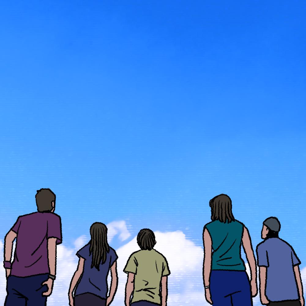 空を見上げる若者たちのイラスト(後ろ姿)
