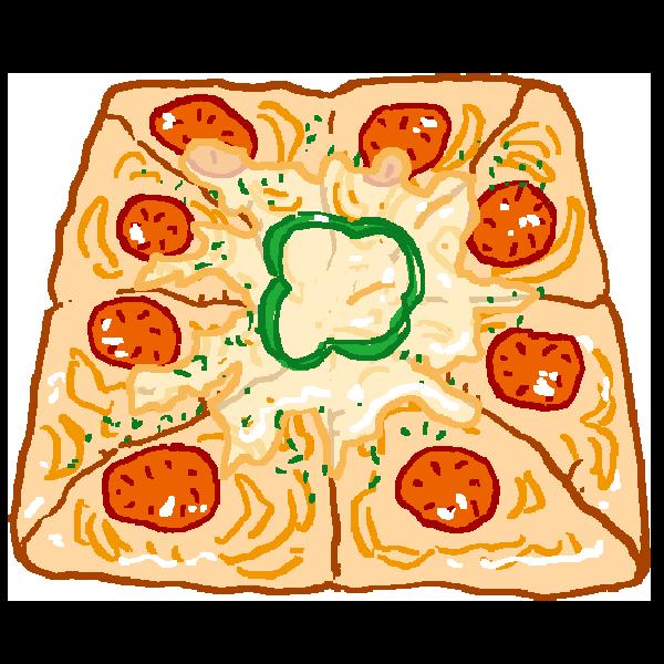 四角いピザのイラスト
