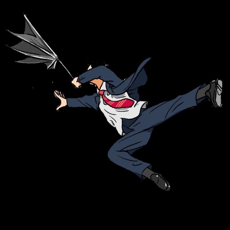 風に飛ばされるスーツの男のイラスト(背景無し)