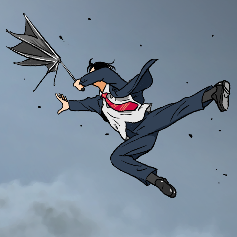 風に飛ばされるスーツの男のイラスト