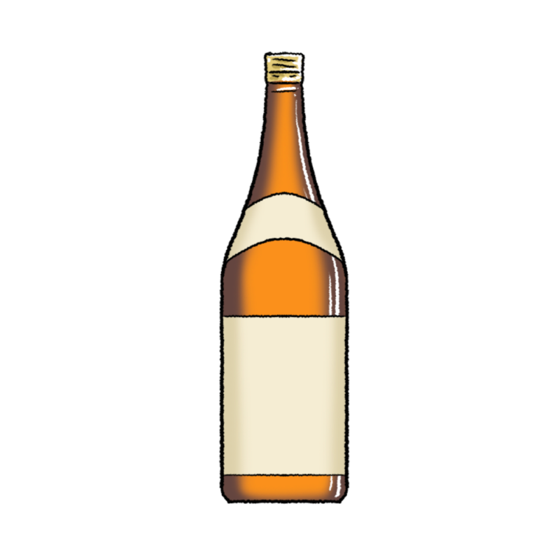 一升瓶のイラスト(茶)1800ml