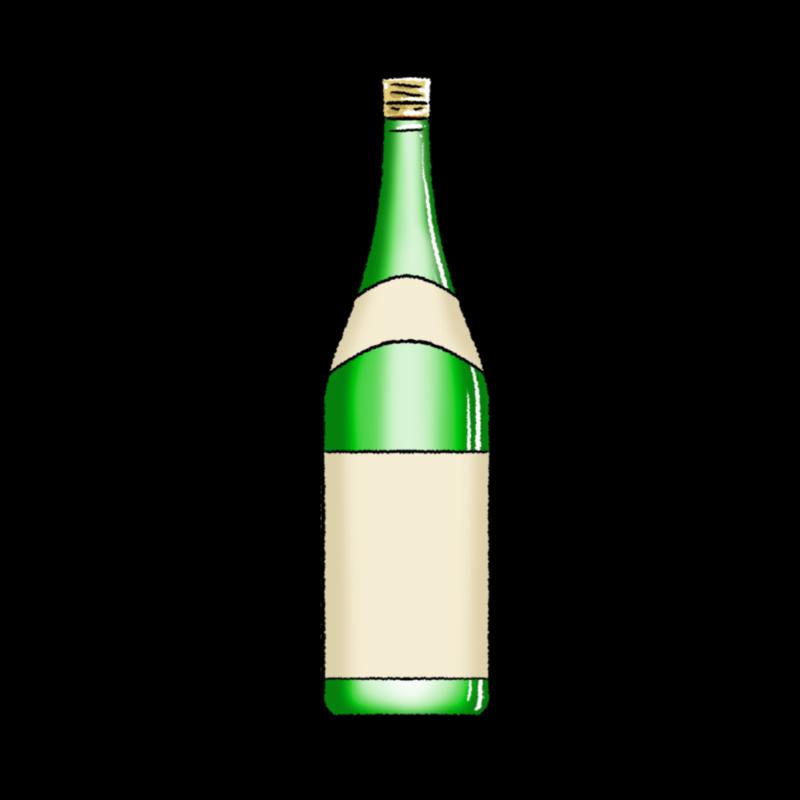 一升瓶のイラスト(緑)1800ml