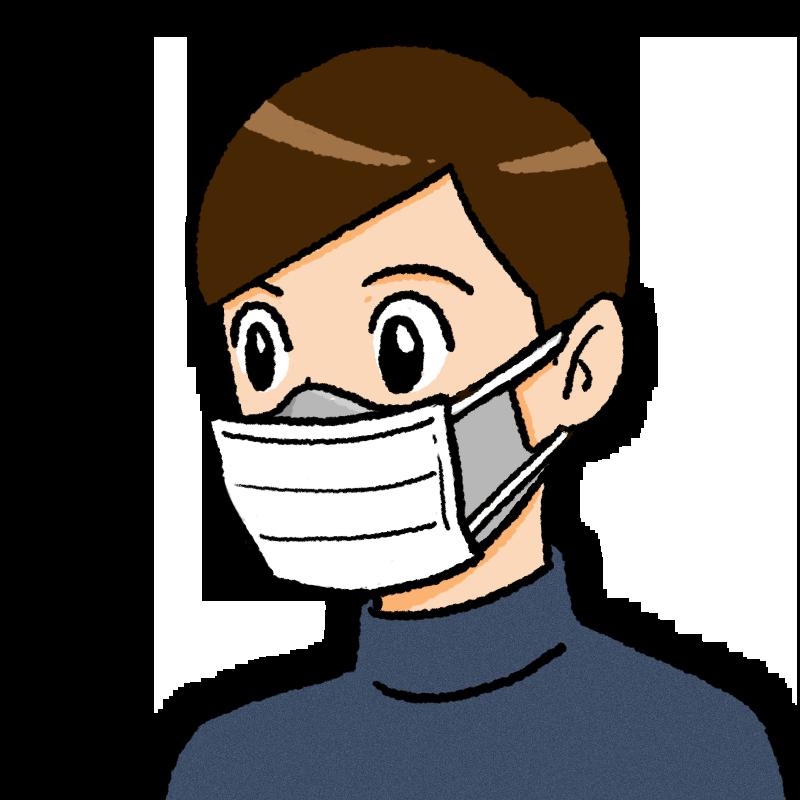 二重マスクの男性のイラスト(不織布が前)