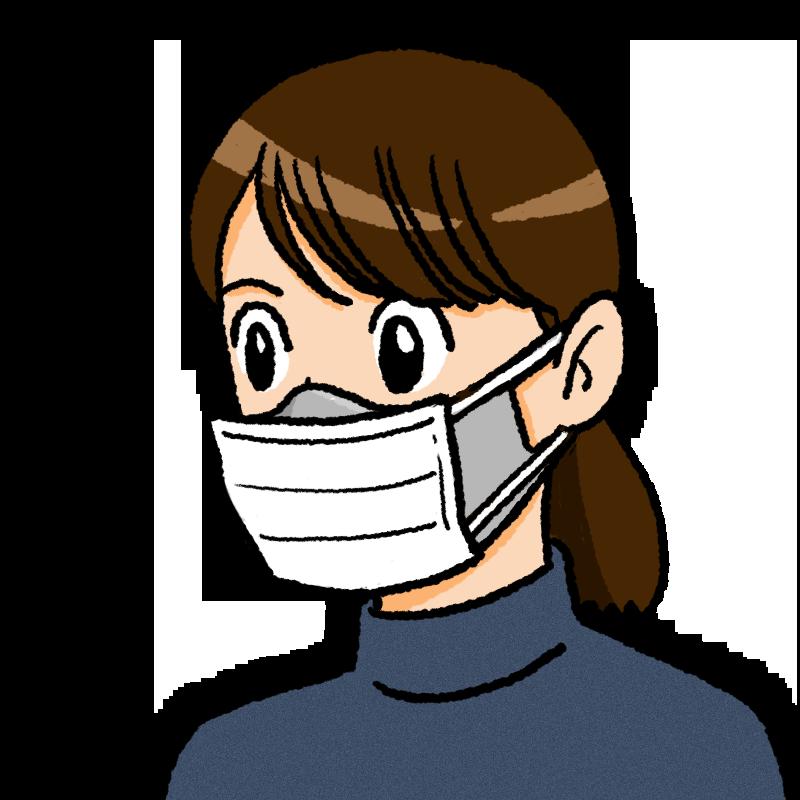 二重マスクの女性のイラスト(不織布が前)