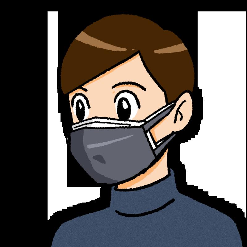 二重マスクの男性のイラスト(布が前)
