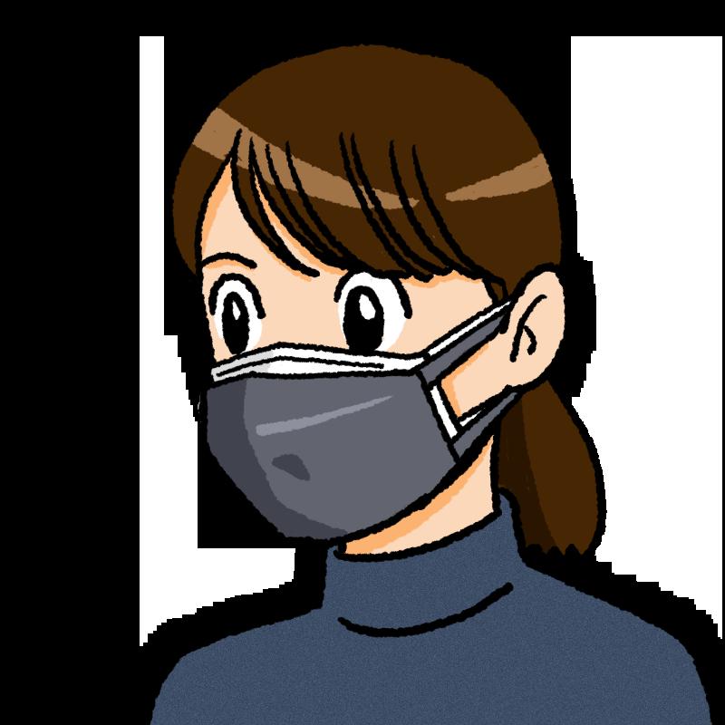 二重マスクの女性のイラスト(布が前)