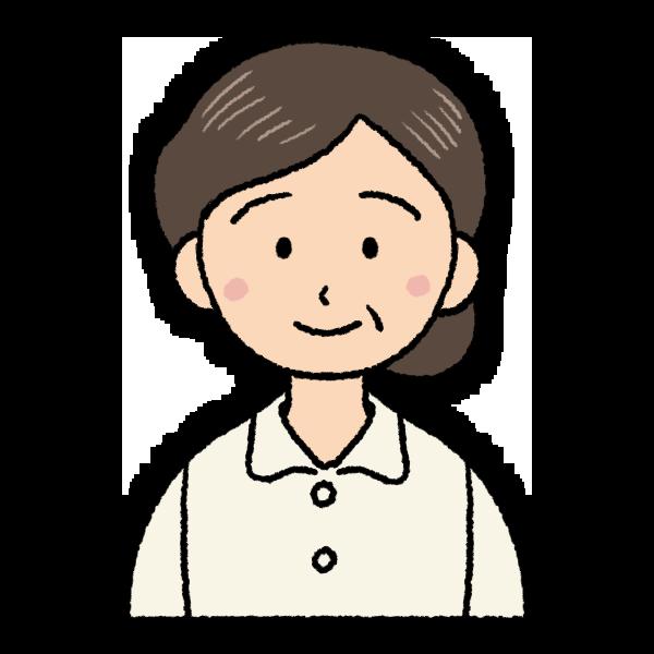 丸顔の中年女性のイラスト バストショット