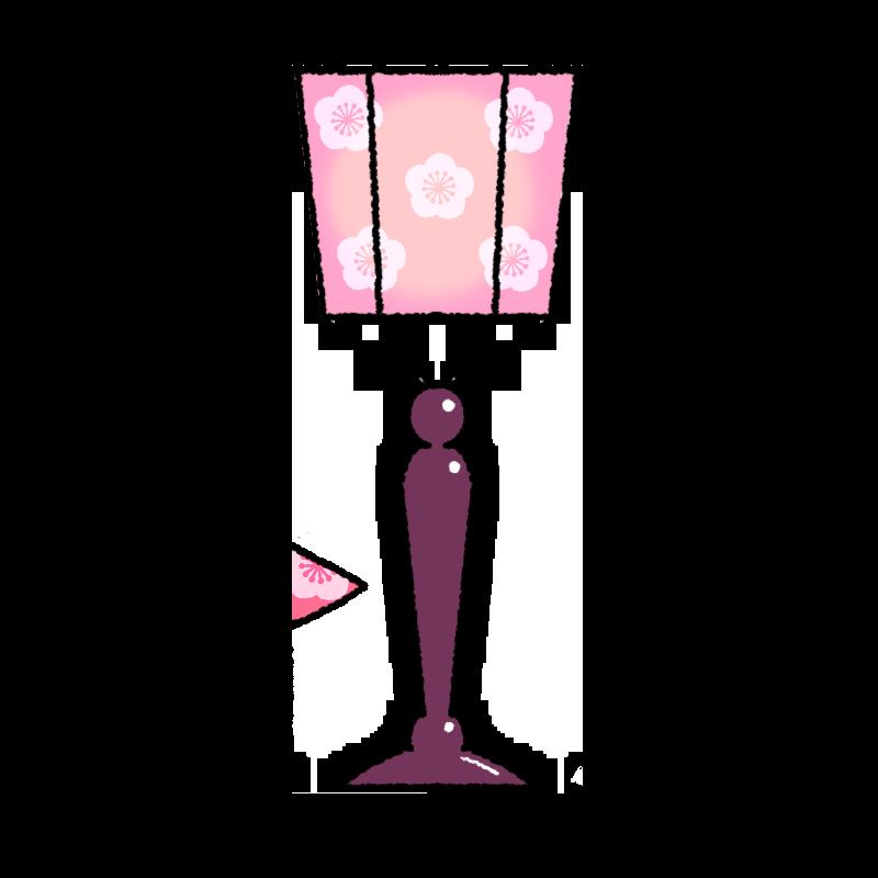桃の柄のぼんぼりのイラスト
