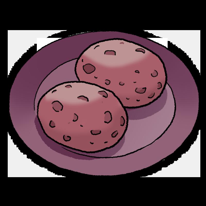 ぼた餅のイラスト(つぶあん)