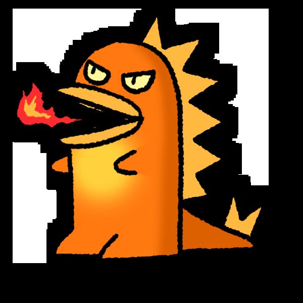 火をふく怪獣のイラスト フリーアイコン
