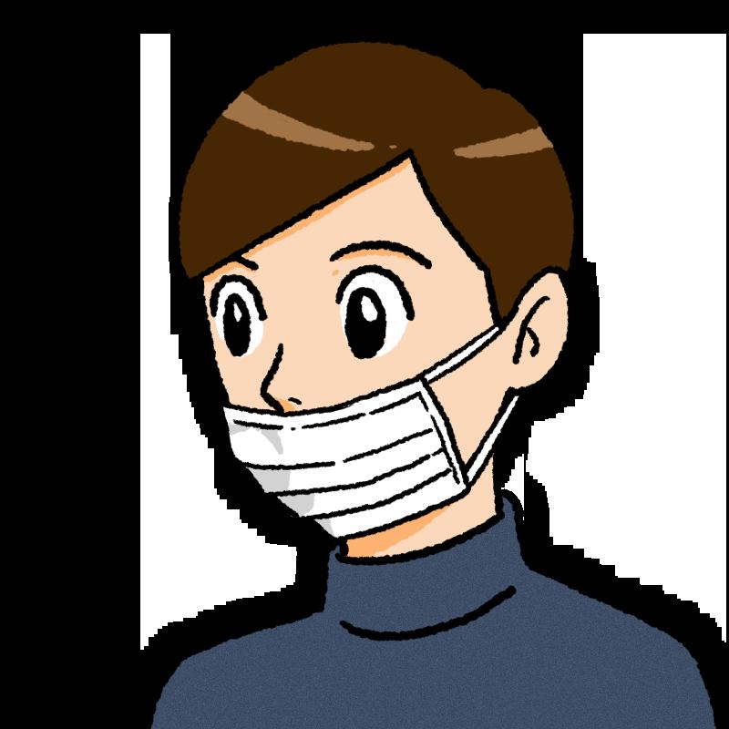 鼻を出したマスクの男性のイラスト