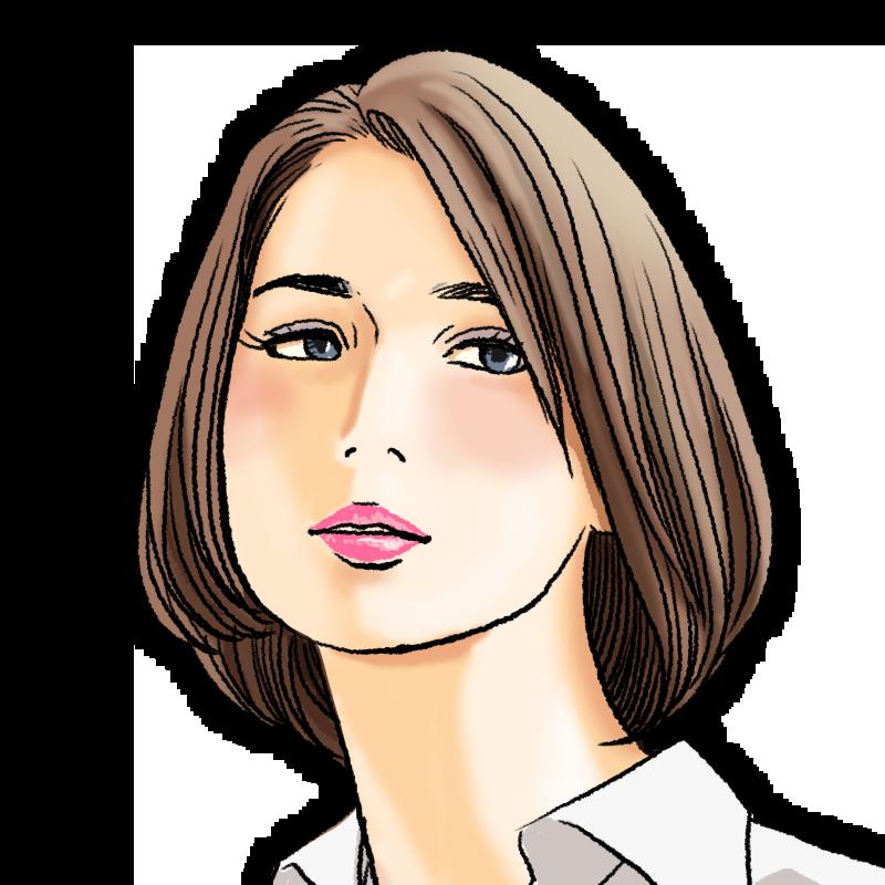 ひし形ヘアーの女性のイラスト アンニュイ