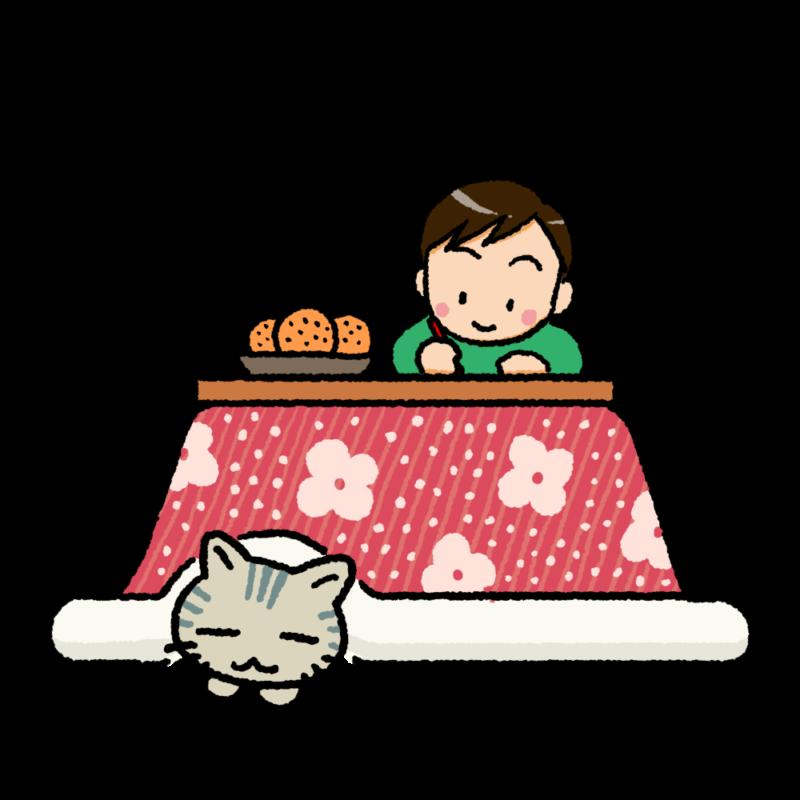 こたつに猫と男の子のイラスト