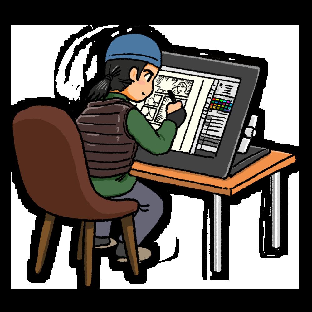 デジタル機器で作画する漫画家のイラスト