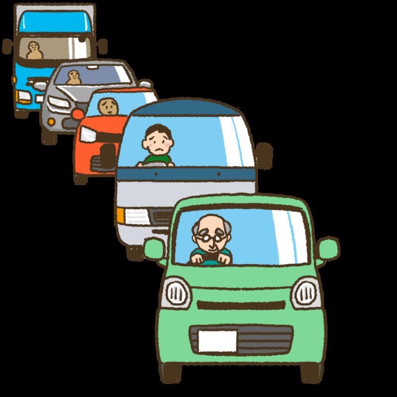 渋滞の先頭を走る高齢ドライバーの車のイラスト