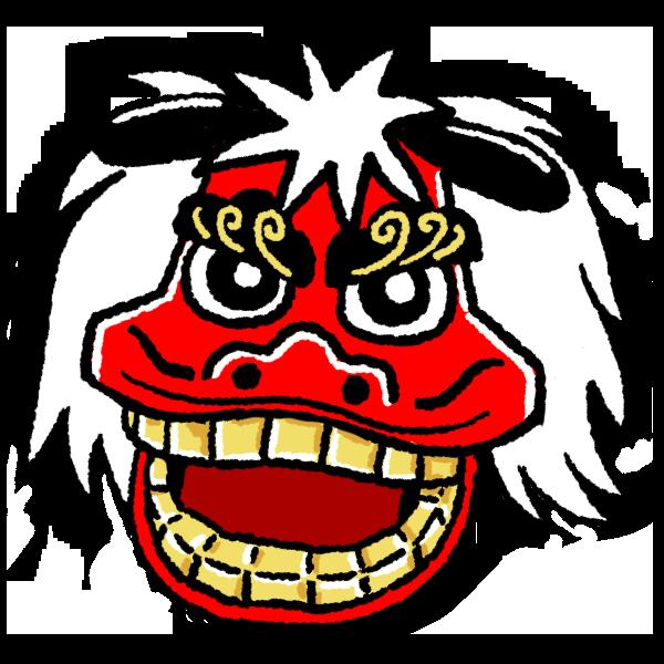 獅子舞の顔のイラスト フリーアイコン