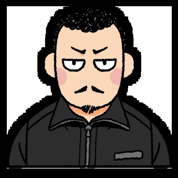 目つきの悪い男性のイラスト バストショット