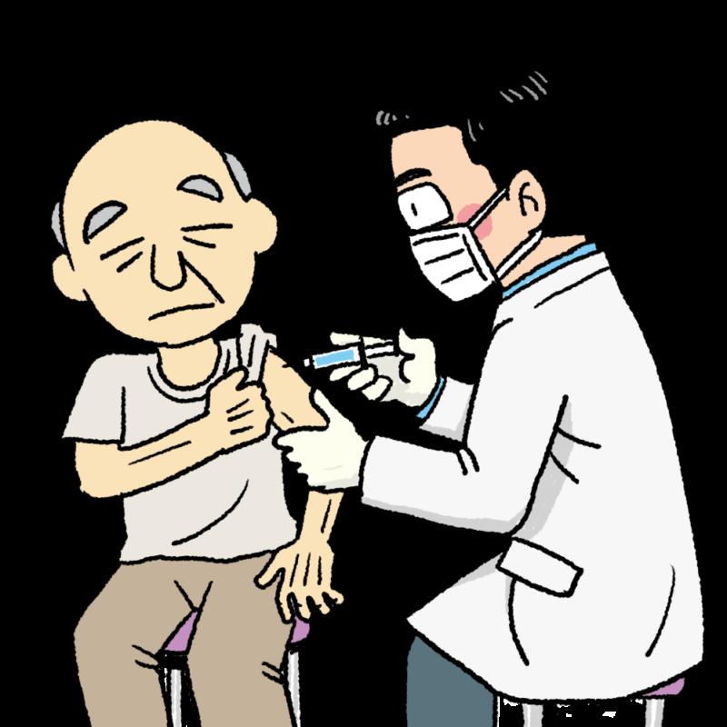 お年寄りのワクチン接種のイラスト