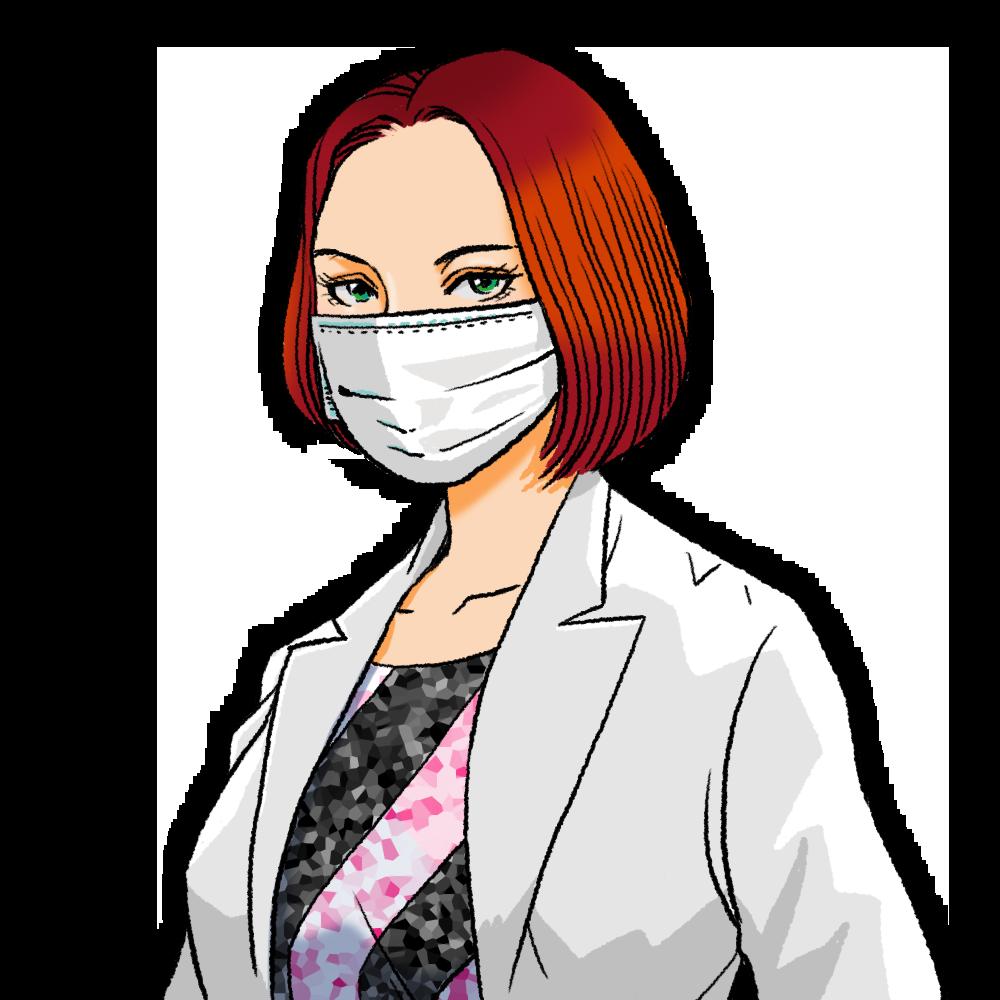 マスクをした眼力(めぢから)のある女性ドクターのイラスト