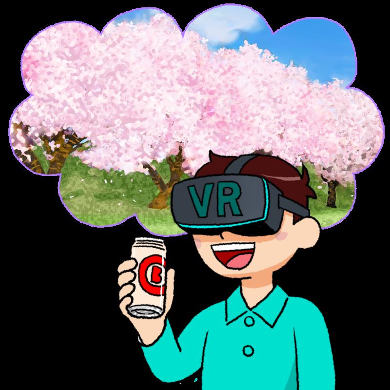 VR花見をする男性のイラスト