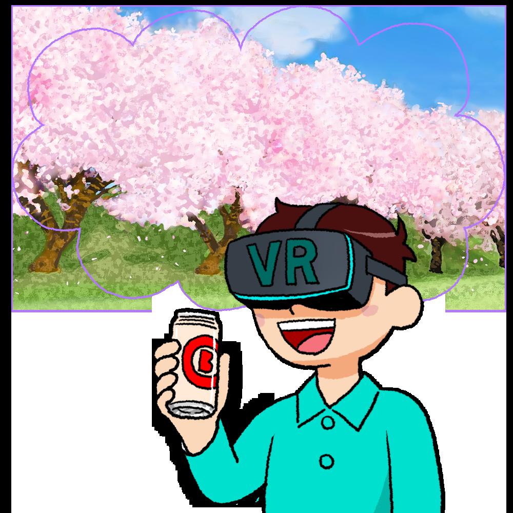 VR花見のイラスト
