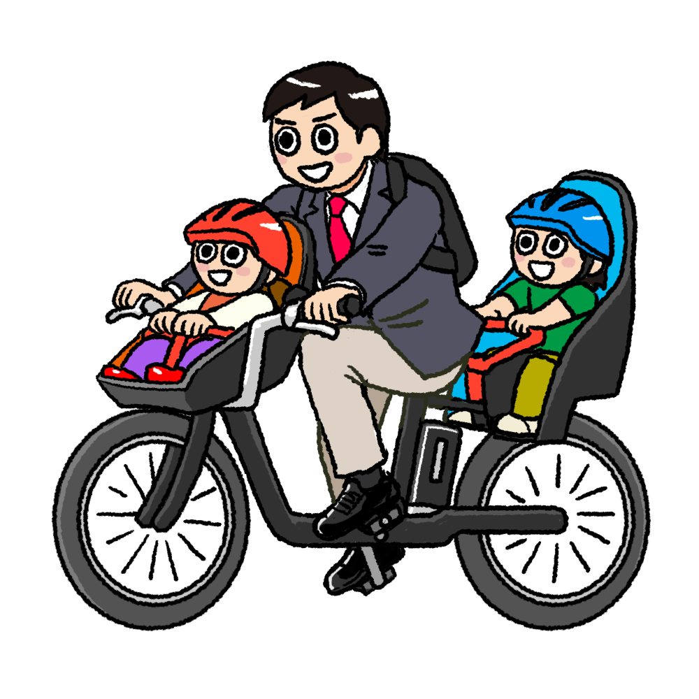 送迎自転車のイラスト パパ版