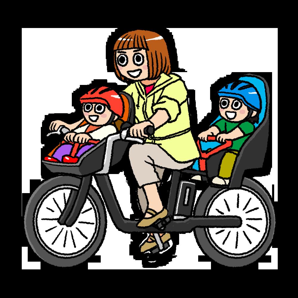 送迎自転車のイラスト ママ版