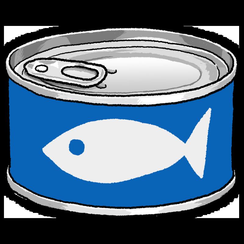 魚の缶詰のイラスト(青)