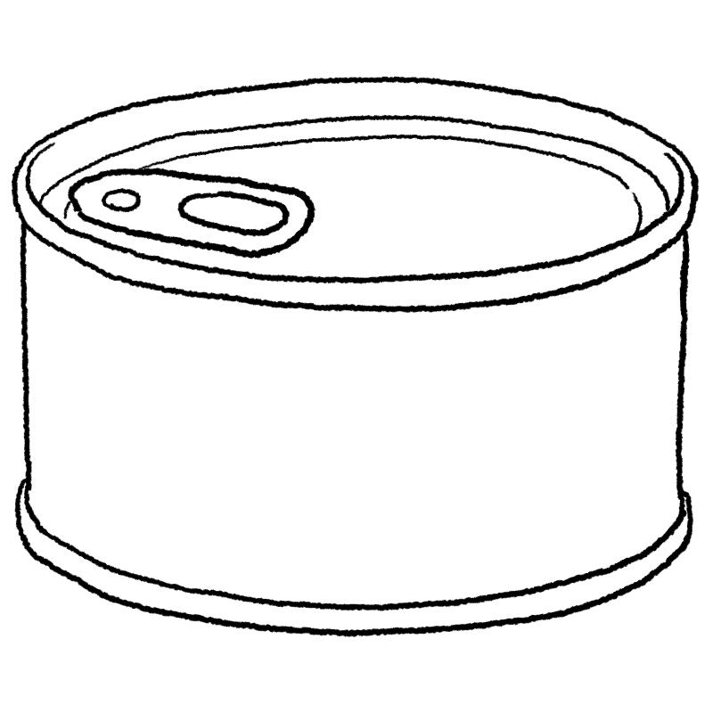 缶詰のイラスト(ぬり絵)