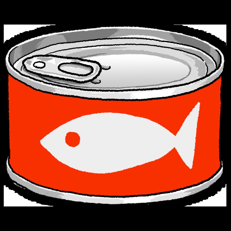 魚の缶詰のイラスト(赤)