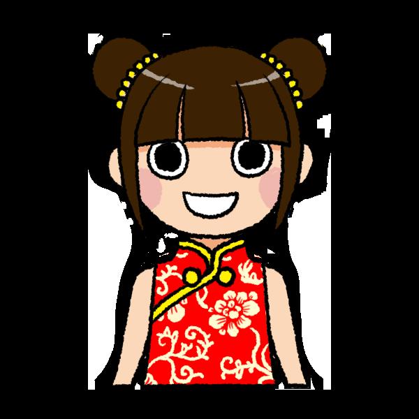 チャイナドレスの女の子のイラスト バストショット