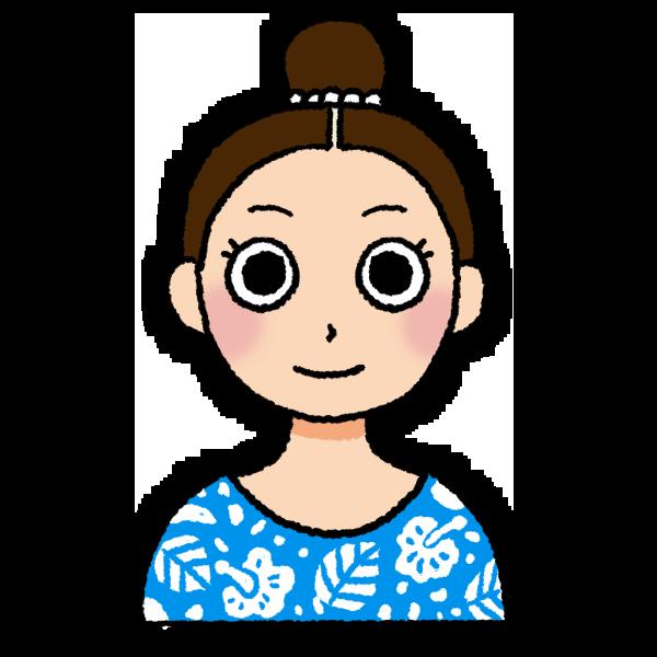 おだんごヘアの女性のイラスト バストショット