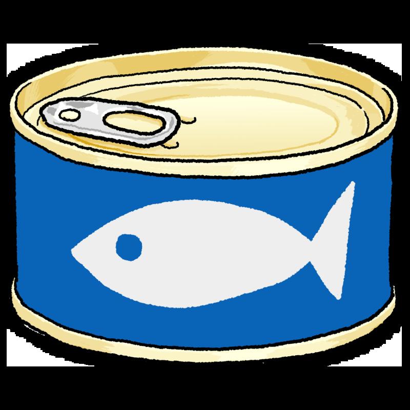 魚の缶詰のイラスト(青)金ラベル