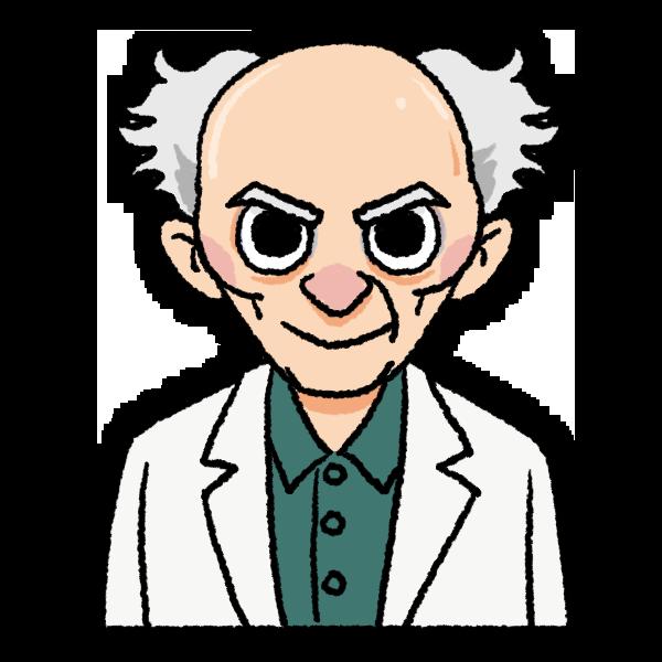 ギョロ目で禿げ頭の老人のイラスト バストショット