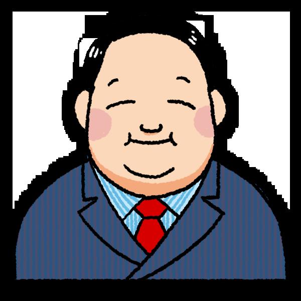 太っている男性のイラスト バストショット